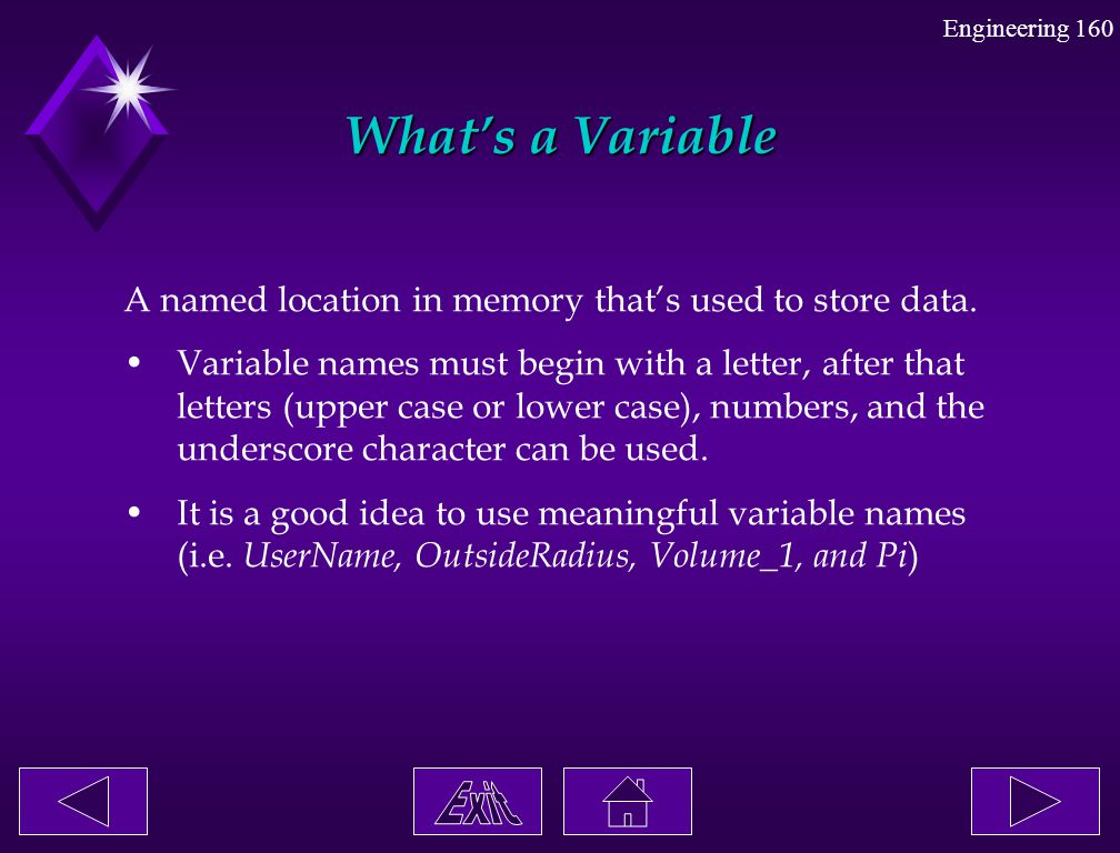 What's a Variable A named location in memory that's used to store data.