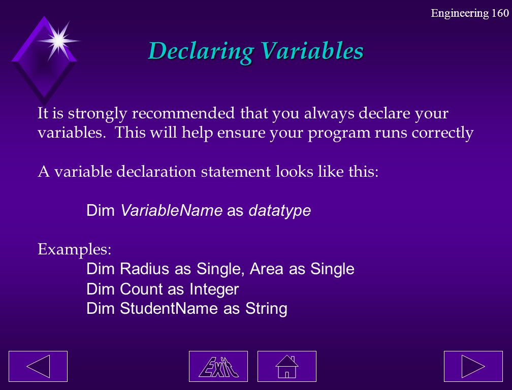Declaring Variables It is strongly recommended that you always declare your. variables. This will help ensure your program runs correctly.