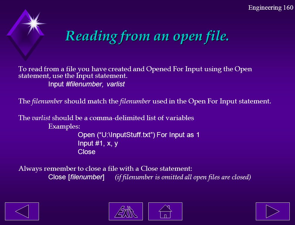 Reading from an open file.
