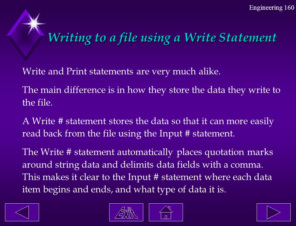 Writing to a file using a Write Statement