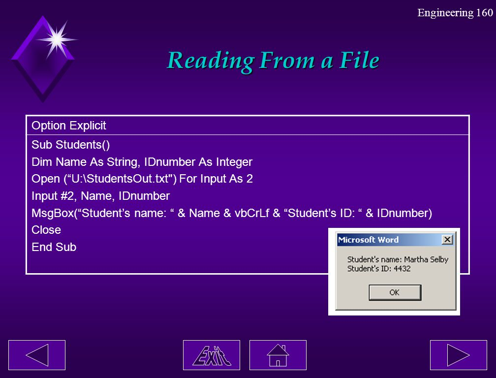 Reading From a File Option Explicit Sub Students()