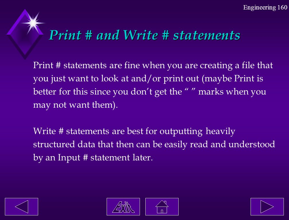 Print # and Write # statements