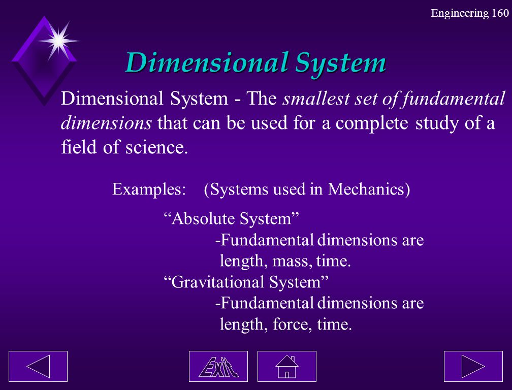 Dimensional System Dimensional System - The smallest set of fundamental. dimensions that can be used for a complete study of a.