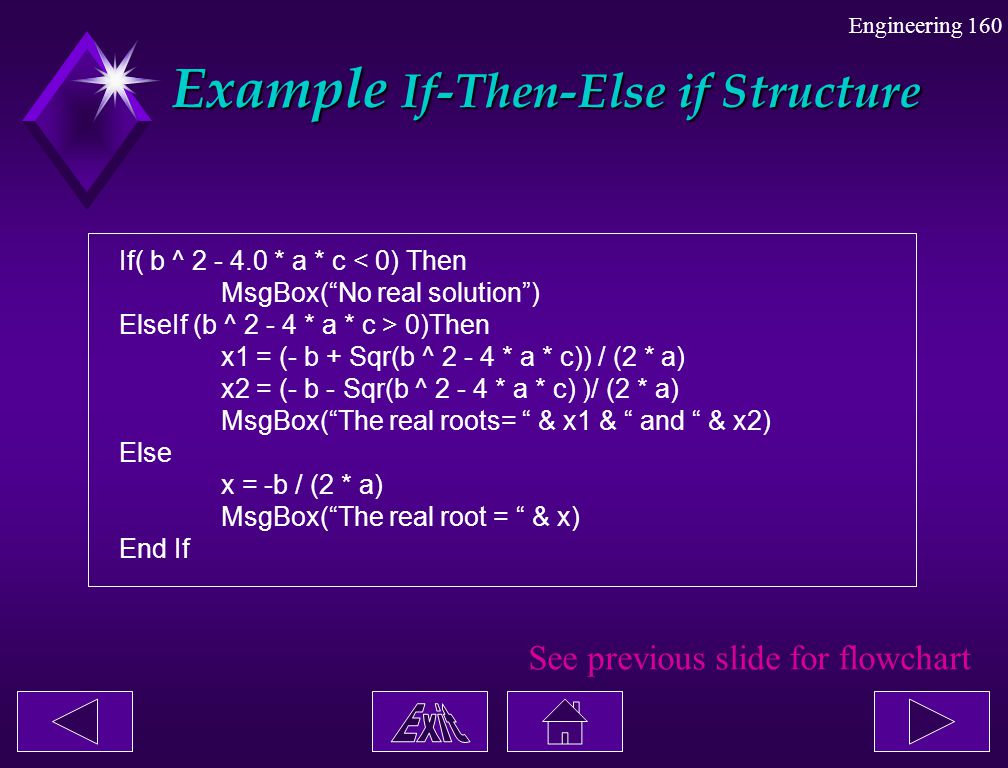 Example If-Then-Else if Structure