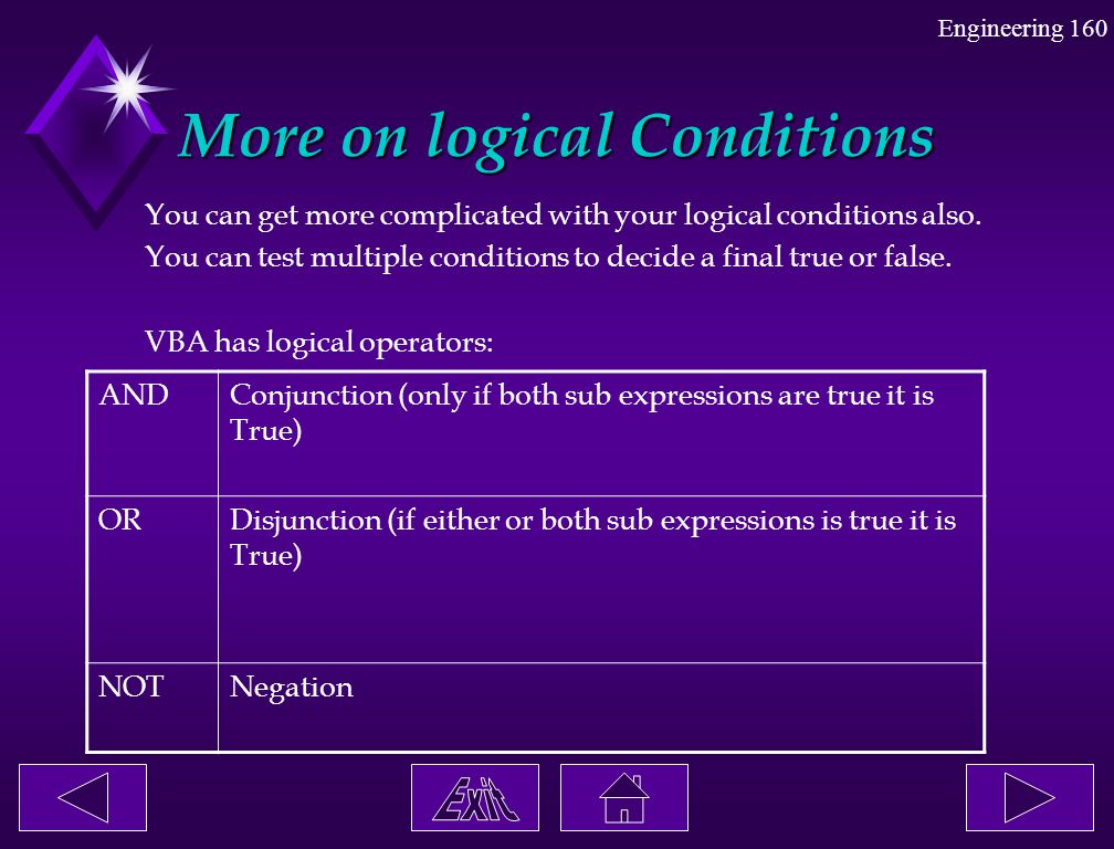 More on logical Conditions