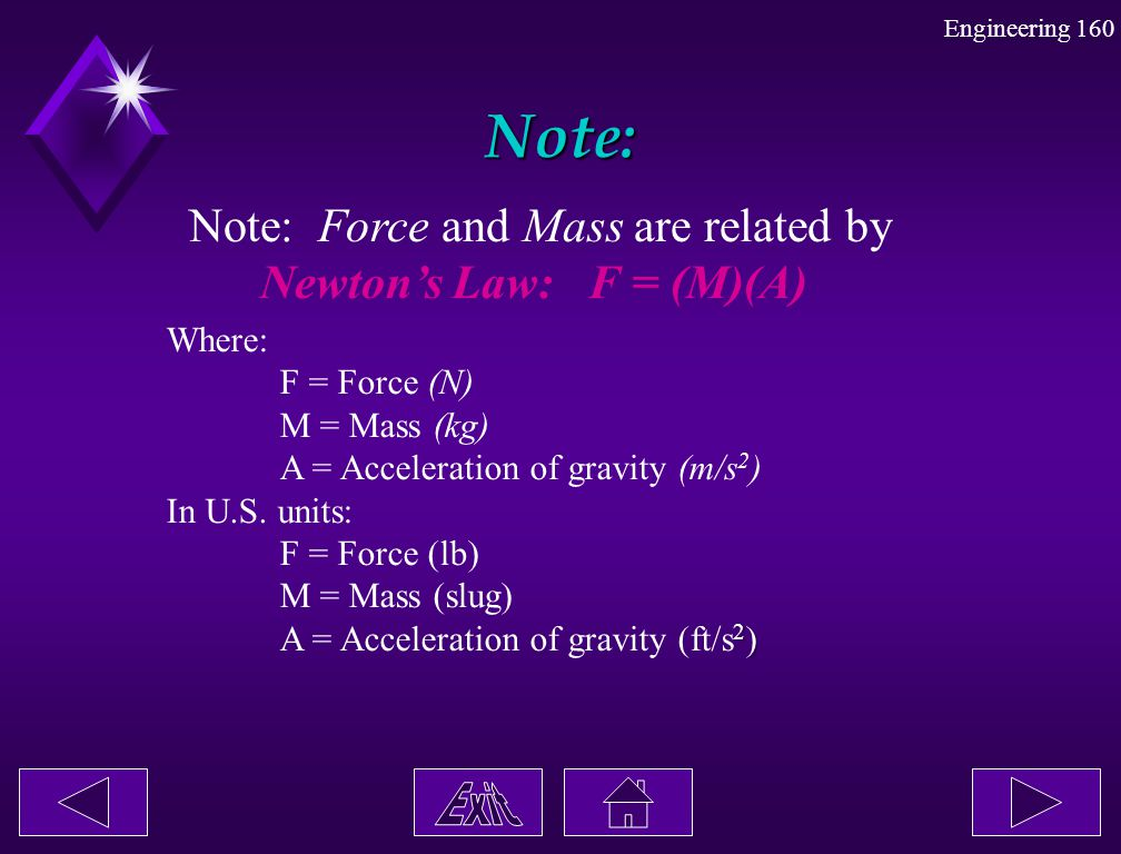 Note: Note: Force and Mass are related by Newton's Law: F = (M)(A)