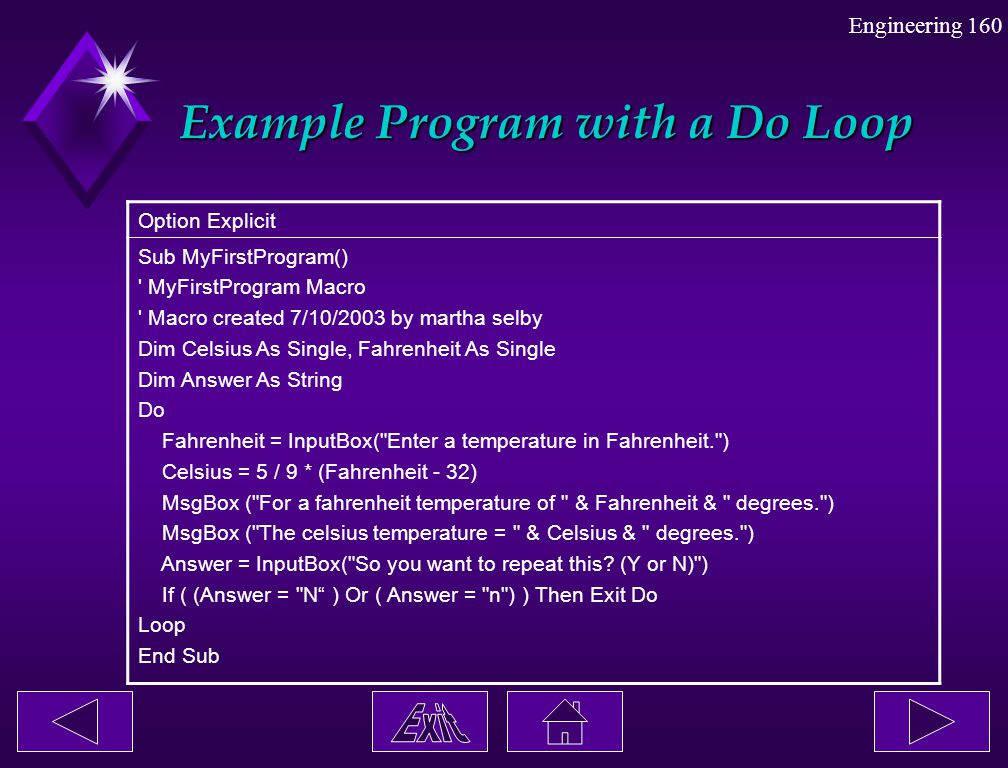 Example Program with a Do Loop