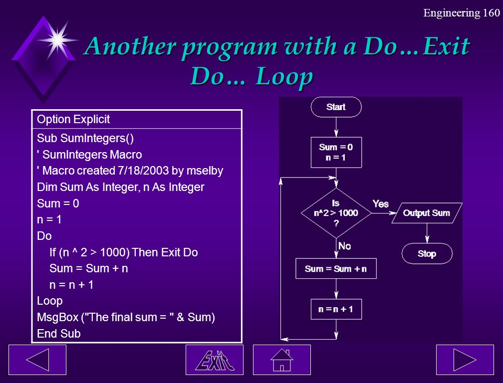 Another program with a Do…Exit Do… Loop