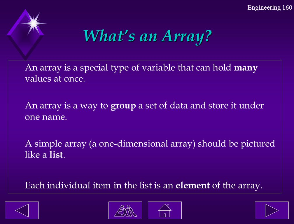 What's an Array An array is a special type of variable that can hold many values at once.