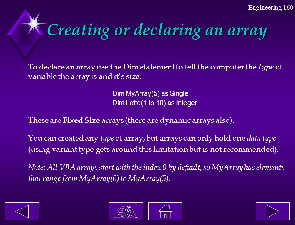 Creating or declaring an array
