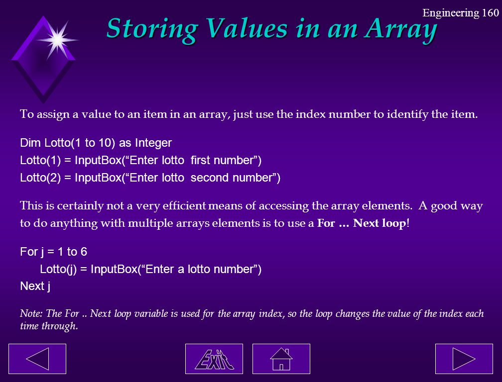 Storing Values in an Array
