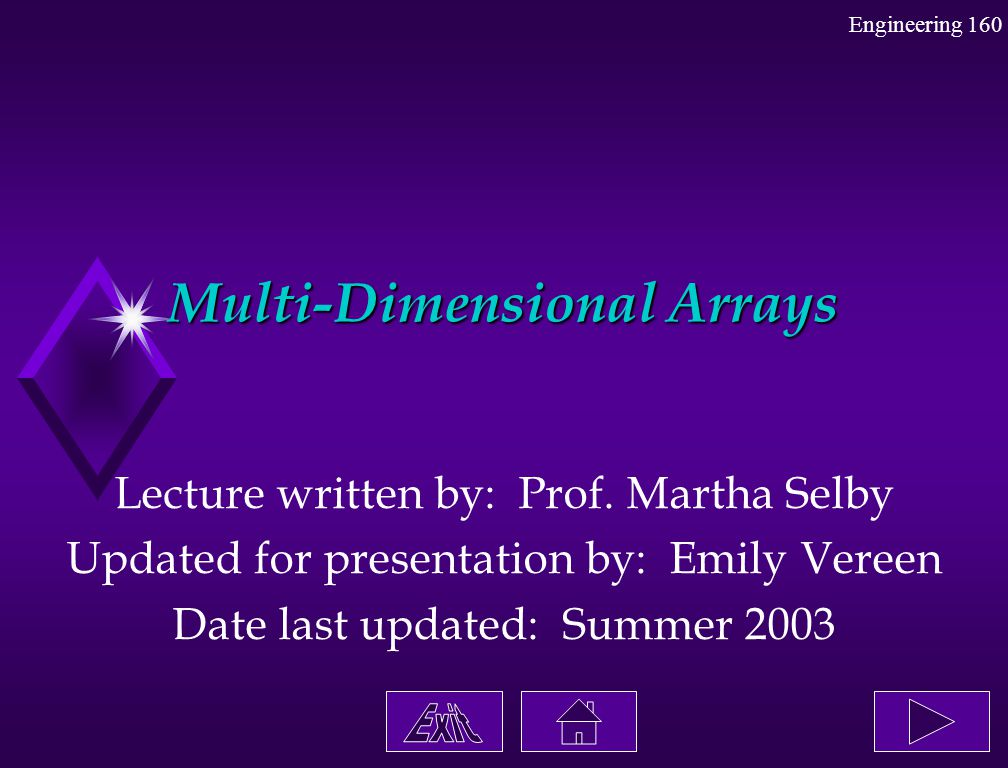Multi-Dimensional Arrays