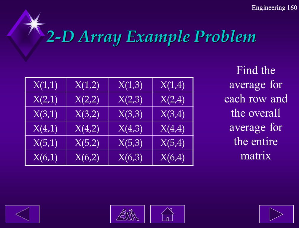 2-D Array Example Problem