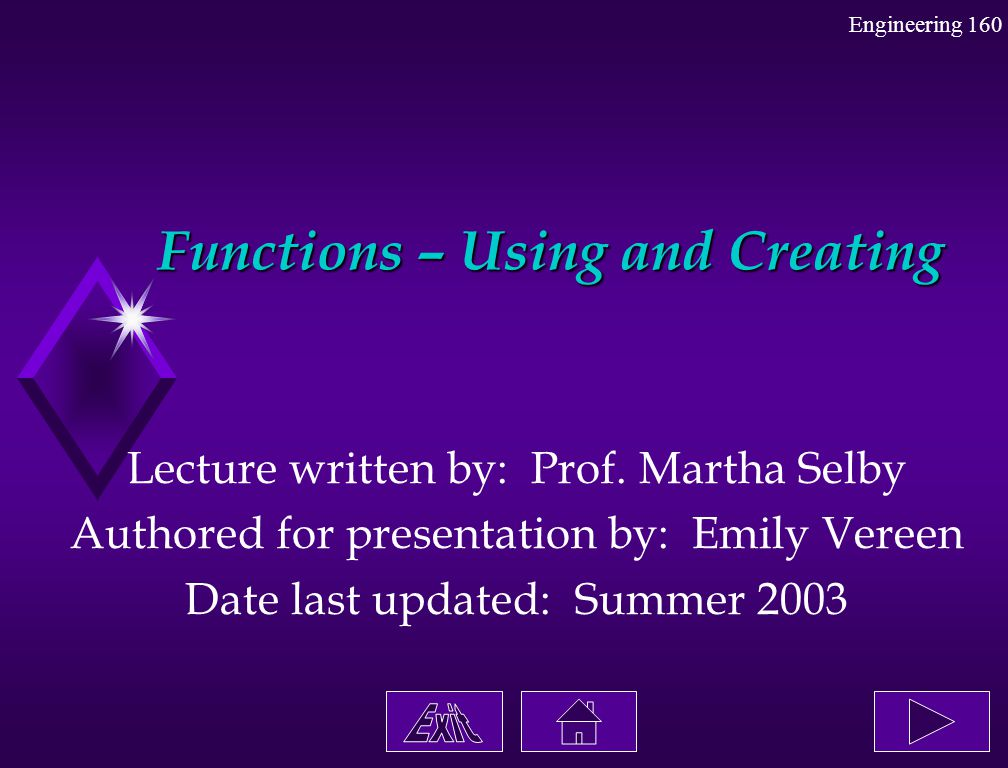 Functions – Using and Creating
