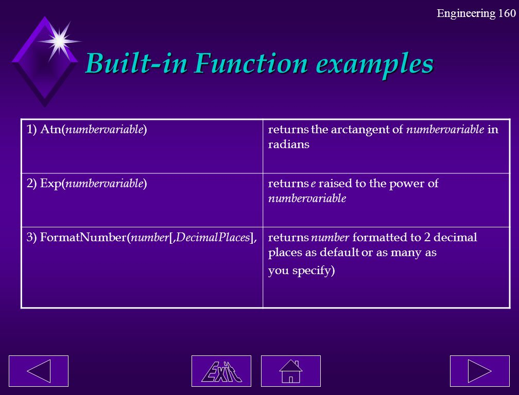 Built-in Function examples