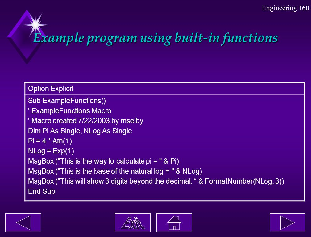 Example program using built-in functions