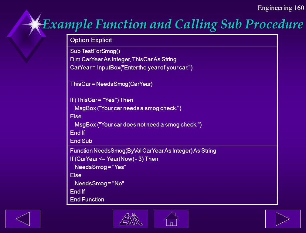 Example Function and Calling Sub Procedure