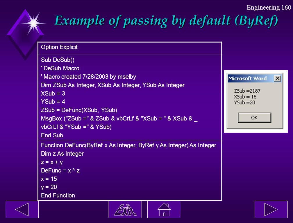 Example of passing by default (ByRef)