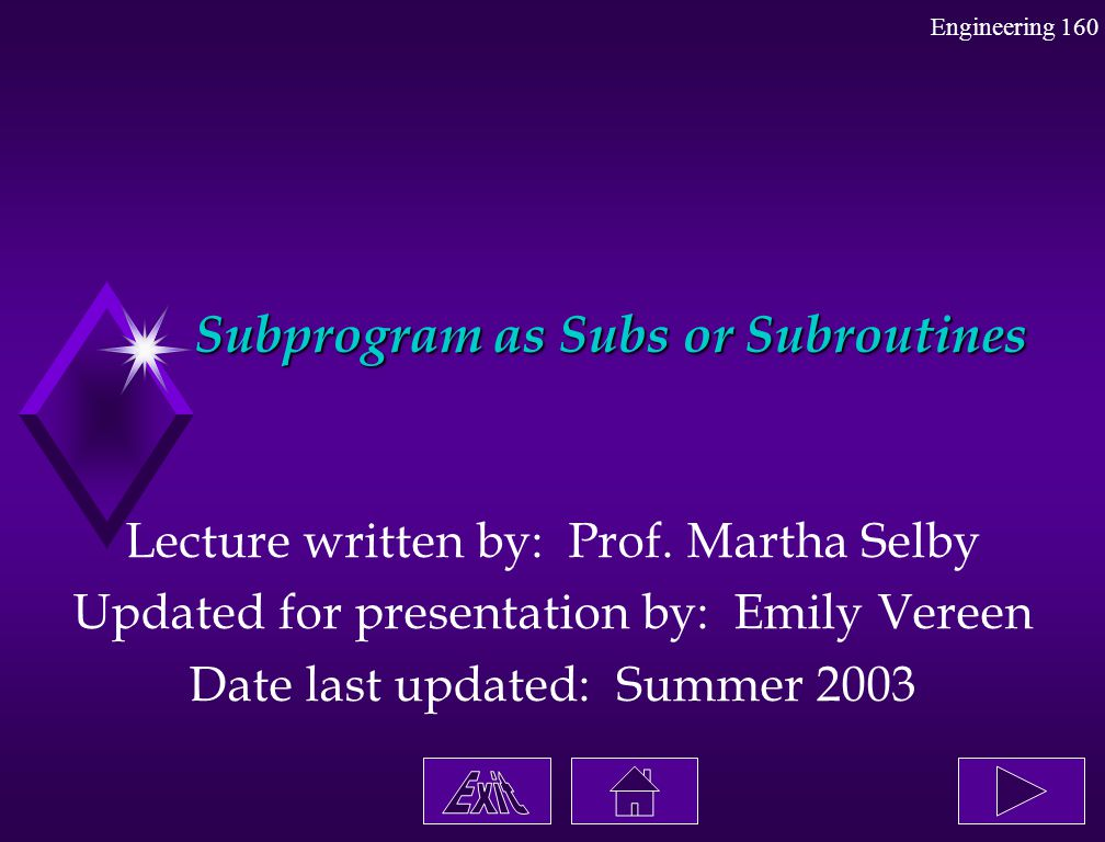 Subprogram as Subs or Subroutines