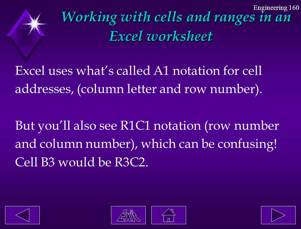 Working with cells and ranges in an Excel worksheet