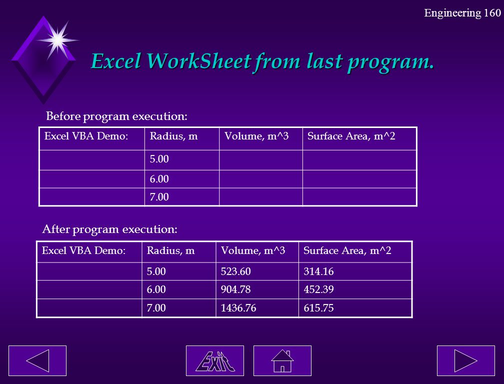 Excel WorkSheet from last program.