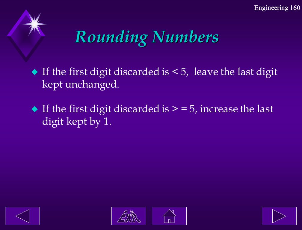 Rounding Numbers If the first digit discarded is < 5, leave the last digit kept unchanged.