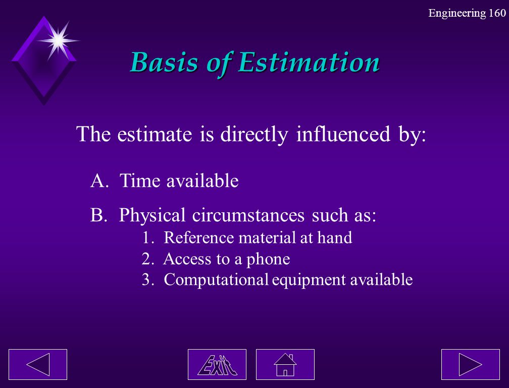 Basis of Estimation The estimate is directly influenced by: