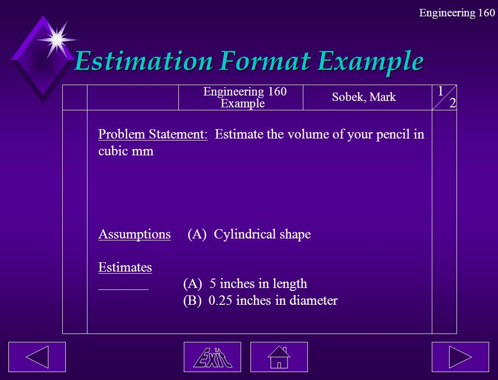 Estimation Format Example