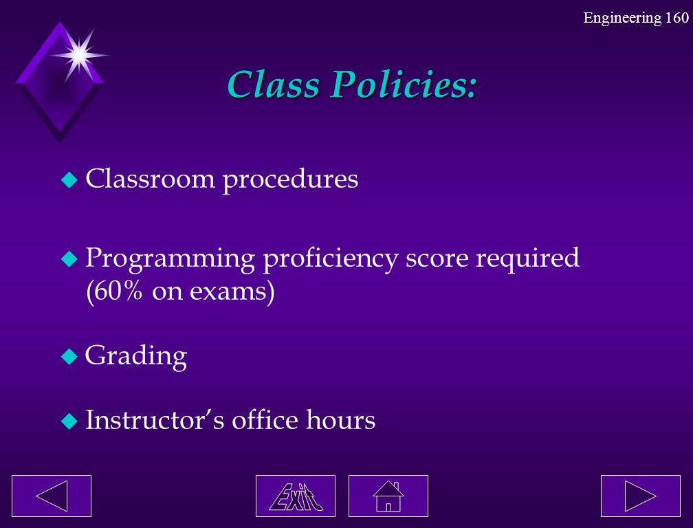 Class Policies: Classroom procedures