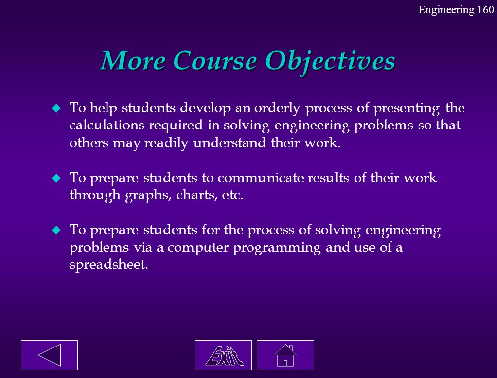 More Course Objectives