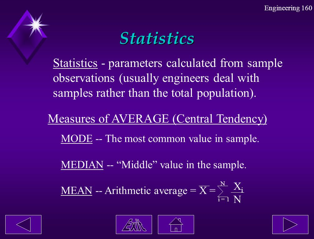 Statistics Statistics - parameters calculated from sample