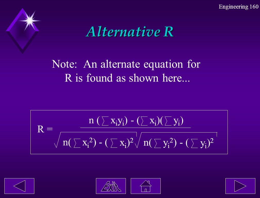 Note: An alternate equation for