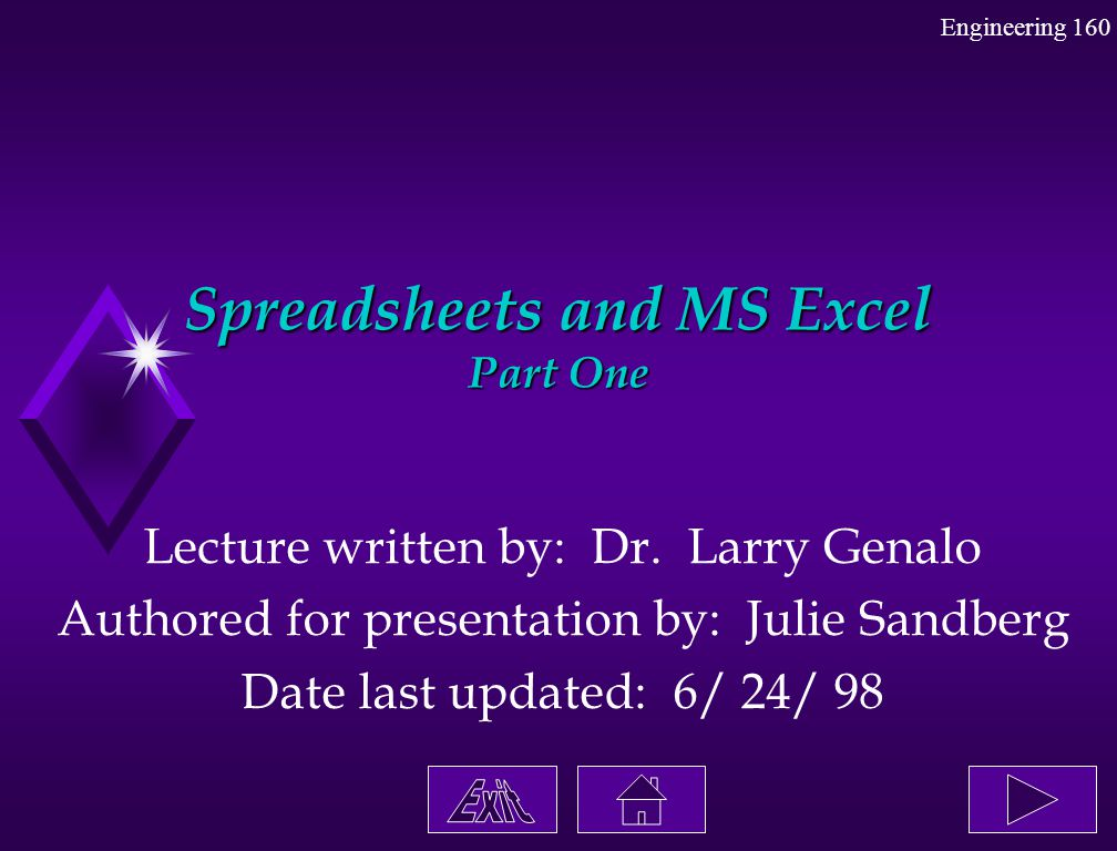 Spreadsheets and MS Excel Part One