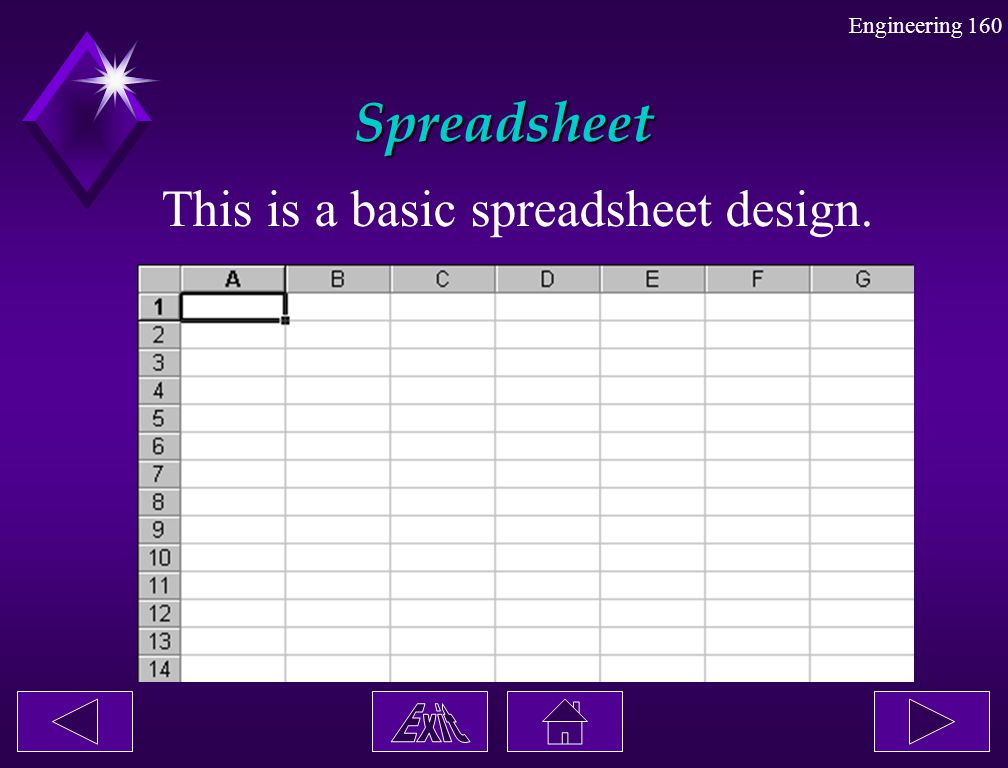 Spreadsheet This is a basic spreadsheet design.