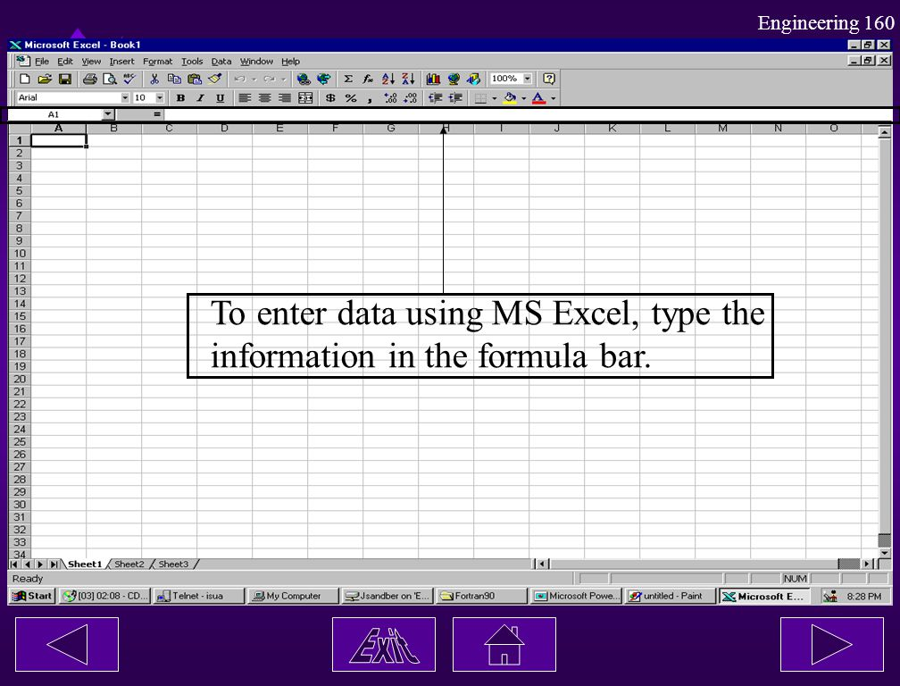 To enter data using MS Excel, type the
