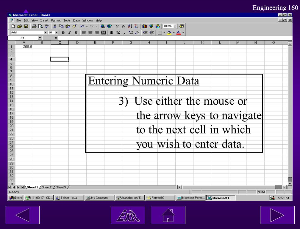 Entering Numeric Data 3) Use either the mouse or. the arrow keys to navigate. to the next cell in which.