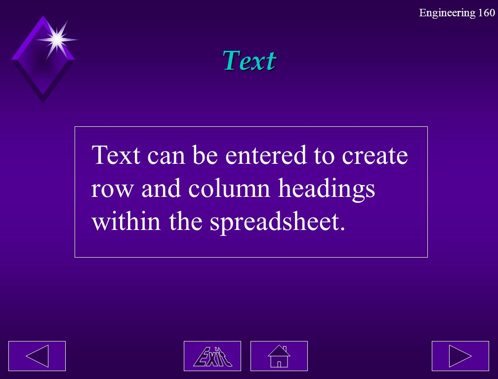 Text Text can be entered to create row and column headings within the spreadsheet.