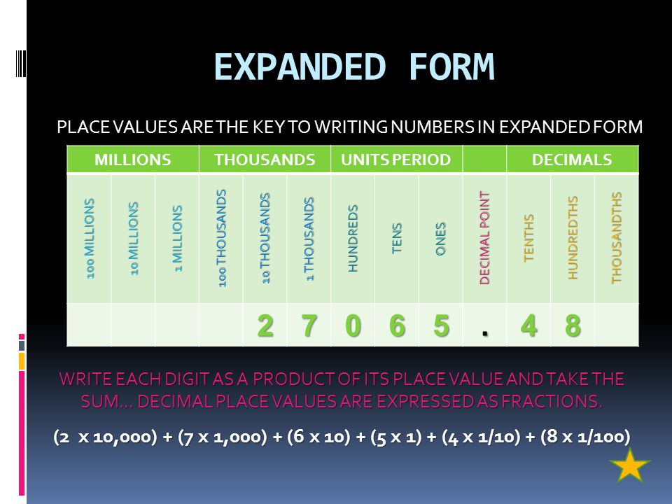 PLACE VALUES ARE THE KEY TO WRITING NUMBERS IN EXPANDED FORM