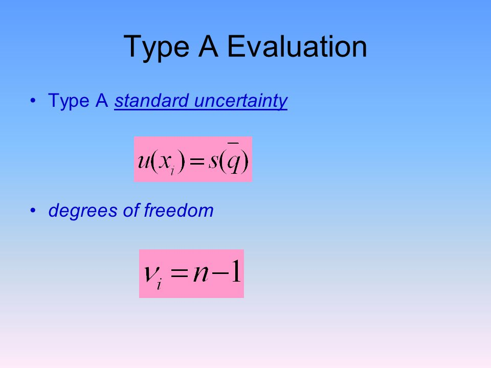 Type A Evaluation Type A standard uncertainty degrees of freedom