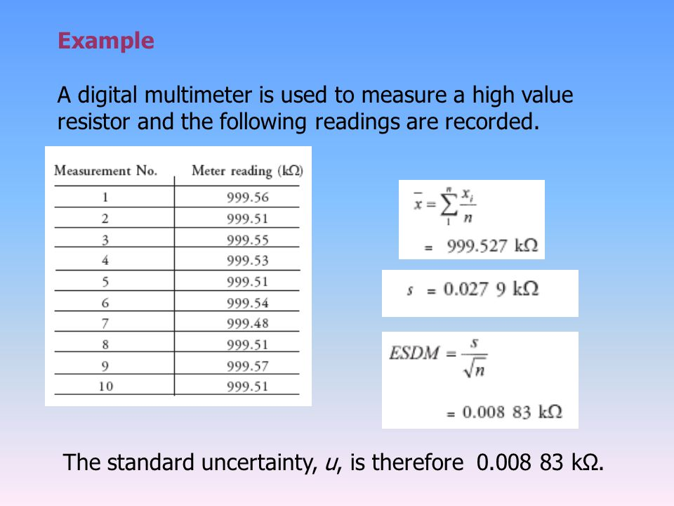 Example A digital multimeter is used to measure a high value resistor and the following readings are recorded.