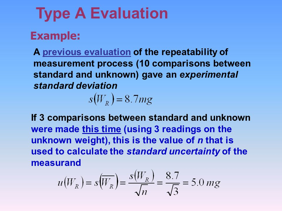 Type A Evaluation Example: