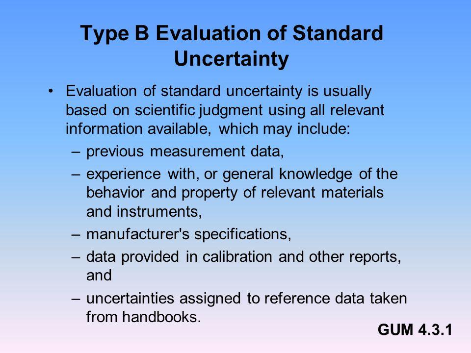Type B Evaluation of Standard Uncertainty