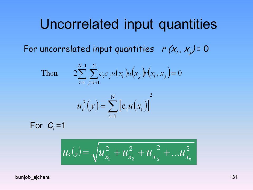Uncorrelated input quantities