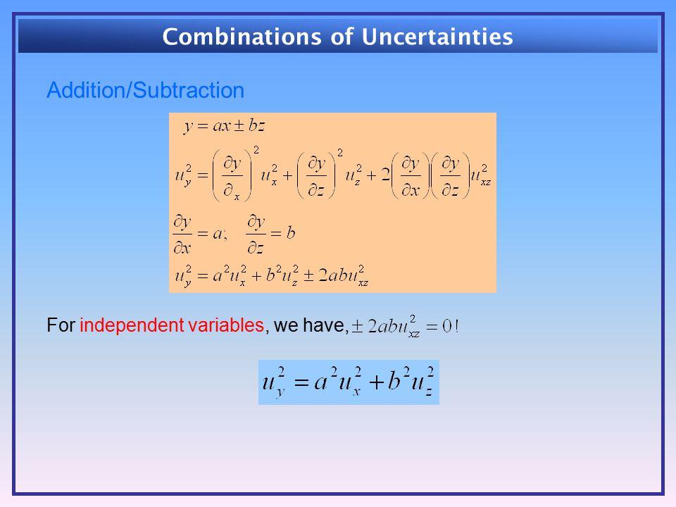 Combinations of Uncertainties