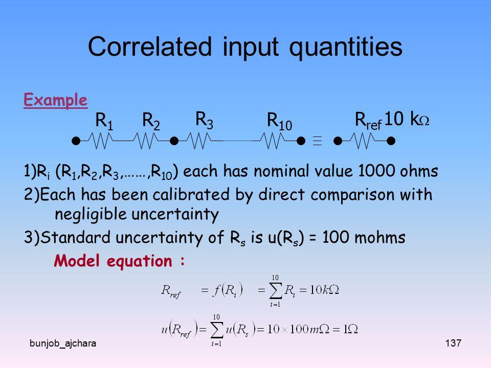 Correlated input quantities