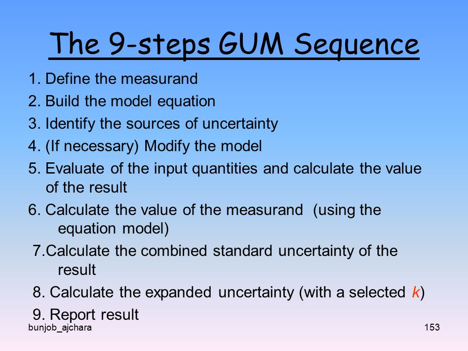 The 9-steps GUM Sequence