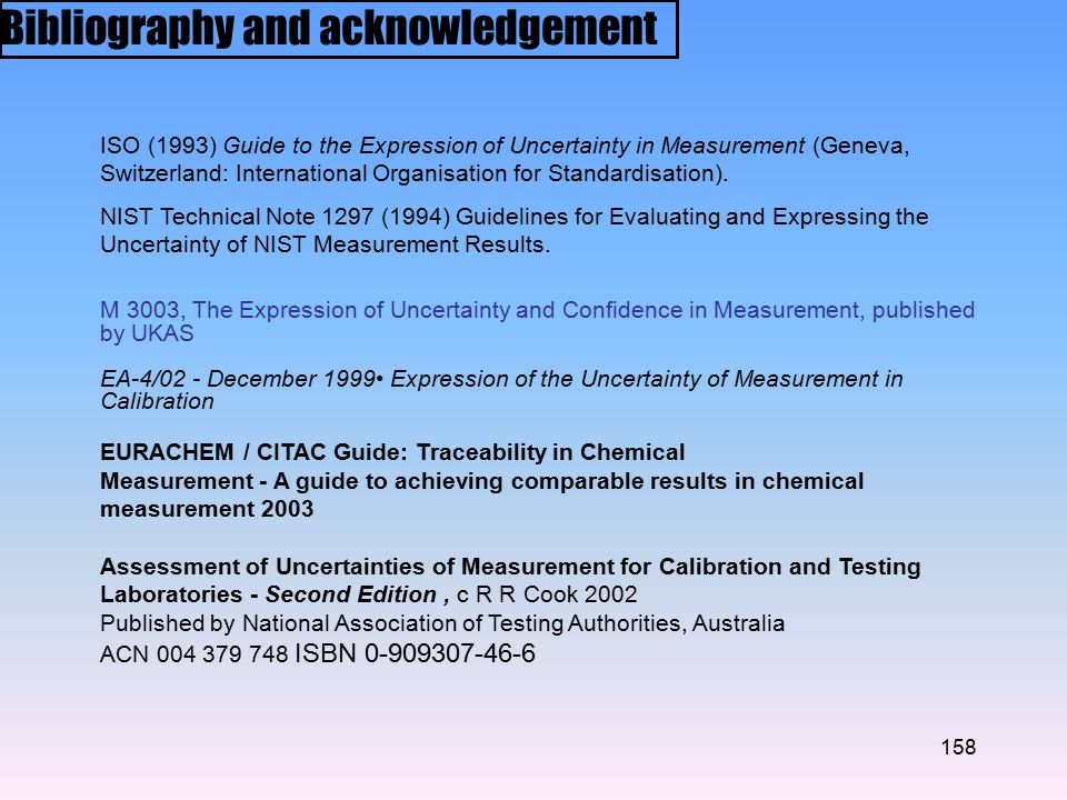 Bibliography and acknowledgement