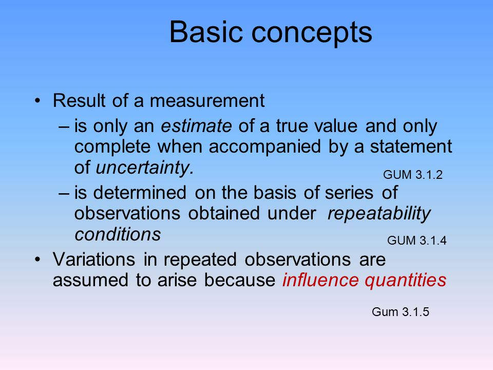 Basic concepts Result of a measurement