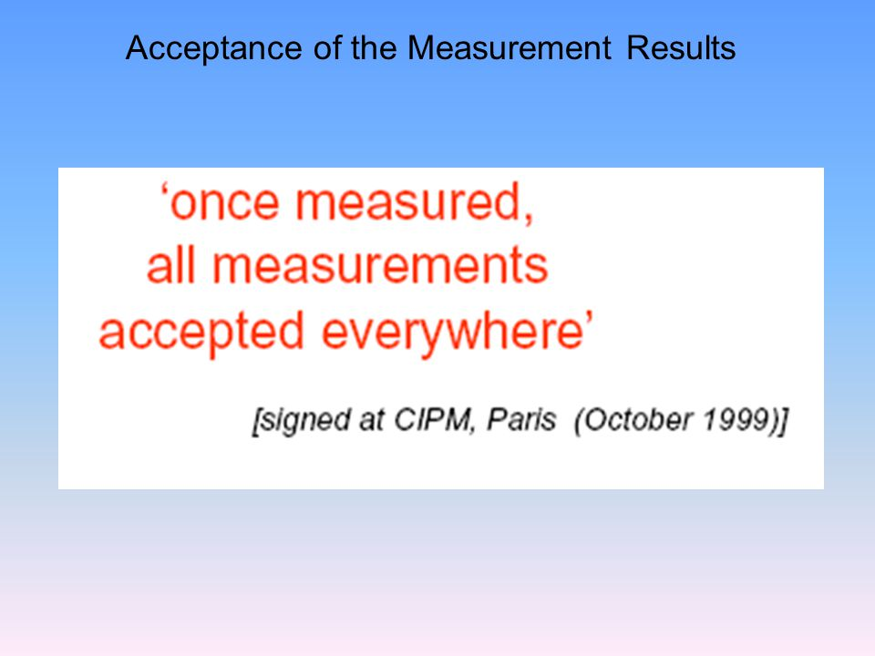 Acceptance of the Measurement Results