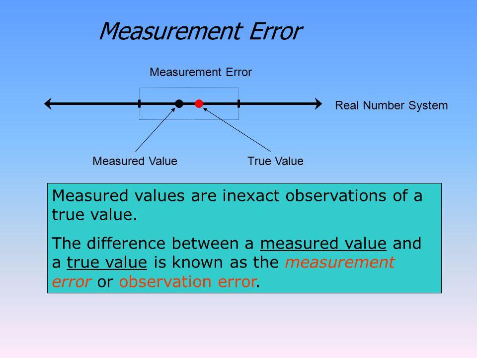 Measurement Error Measurement Error. Real Number System. Measured Value. True Value. Measured values are inexact observations of a true value.